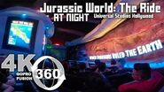 Jurassic World The Ride at Universal Studios Hollywood in 360 Video at night VR Full Ride-Through
