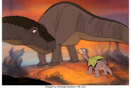 The Land Before Time Little Foot and his Mom Production Cel Setup