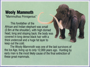 Dino Riders fact card Wooly mammoth
