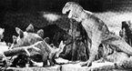 Primeval World T-Rex battle Stego black and white