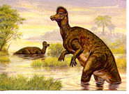 Corythosaurus Dinosaur in Water-Vegetation-Cretaceous Period-Modern Art Postcard