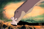 The Land Before Time Littlefoot and Mother Production Cel