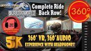 Jurassic World Ride Back Row Immersive 360 VR - Universal Studios Hollywood 5K 360° 360° Audio