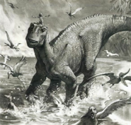 Disney Dinosaur characters play in beach concept