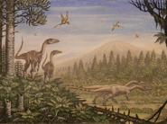 Restoration of Coelophysis and Peteinosaurus