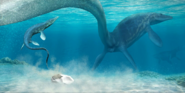 Art render of a pair of mosasaurs and their egg