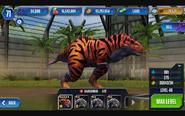 Rajasaurus max in Jurassic World The Game.jpg
