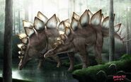 Stegosaurus forest scene by gekkou583 dcrf5bz-pre