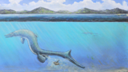 Illustration of a mosasaur laying an egg