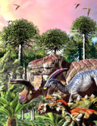 The Last March of Dinosaurs painting