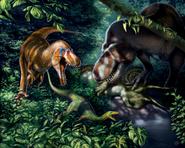Illustration of Nanotyrannus and T-Rex