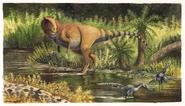 Art of Giganotosaurus and Buitreraptor in a stream
