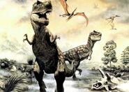 Tyrannosaurus and pteranodon