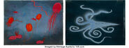 Eyvind Earle World is Born Fantasia - Rite of Spring Color Key Concept Paintings with Production Cel Overlays 1
