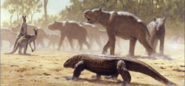 Megalania stalking a herd of Diprotodon