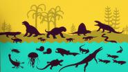 Silhouettes of Paleozoic animals on Dinosaur Train