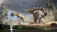 Artwork of Stegosaurus and Ceratosaurus fighting