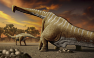 Illustration of a female Apatosaurus laying eggs