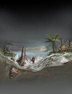 Illustration of Borealopelta drowning