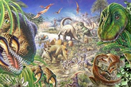 Artwork of prehistoric animals in The Lost World