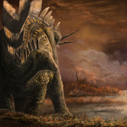 Art impression of Stegosaurus looks around