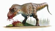 Illustration of T-rex eating a hadrosaur carcass