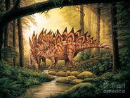 Stegosaurus-pair-in-forest-phil-wilson