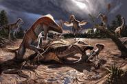 Illustration of Utahraptor family in quicksand