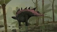 Illustration of Stegosaurus taking a drink
