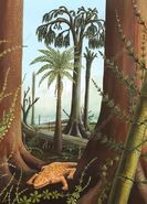 E4450324-Carboniferous amphibian, artwork