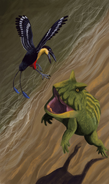 Drawing of Falcatakely escaping a Beelzebufo