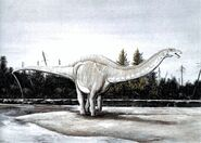 Apatosaurus at forest