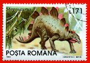 Romania1993-171L-stegosaurus-L