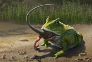 Artwork of Beelzebufo eating a baby Masiakasaurus