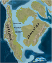 North America Late Cretaceous ( 75mya) Western Interoir Seaway map PLoS ONE.png