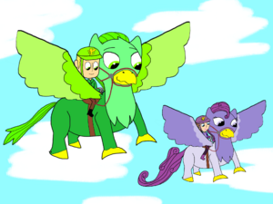 Greg, Sofia, and their griffins, Chamel and Violet.png