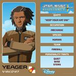 Star Wars Resistance character card - Yeager