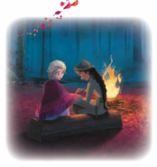 Storybook Illustration of Elsa and Honeymaren by the Fire