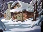 A snowy cabin scenery