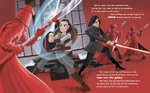 The Last Jedi Little Golden Book - Rey and Kylo fight the guards
