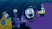 Webby Vanderquack introducing herself to the mermaids