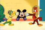 Jose and Panchito shaking hands with Mickey