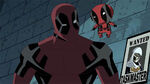 Deadpool with smaller Deadpool on shoulder