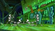 Dancing skeletons and floating musical instruments in mickey's house