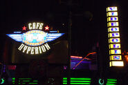 The Cafe Hyperion & Videopolis Sign at Night