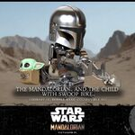 Cosbaby Bobble-Heads The Mandalorian and Child with Swoop Bike