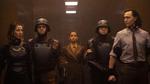 Loki - 1x04 - The Nexus Event - Photography - Sylvie and Loki with Ravonna and Minutemen
