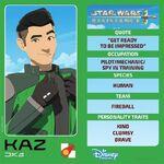 Star Wars Resistance character card - Kaz