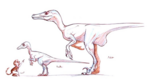 Velociraptor young and adult concept art