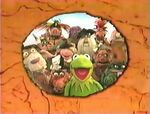 A snapshot of Kermit and the Muppet Treasure Island cast in a circle of a closing sequence background